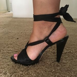 bebe Amber Satin and Patent Wraparound Heels